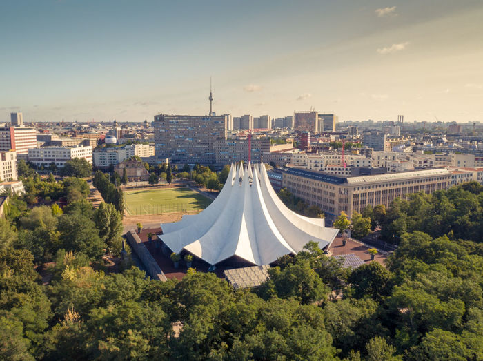 tempodrom berlin Cityscape Architecture Built Structure City Sky High Angle View Urban Skyline Berlin Tempodrom No People Outdoors Drone