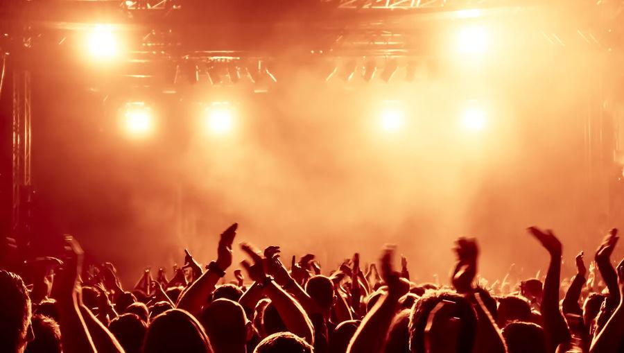 Crowd Enjoying At Rock Music Concert