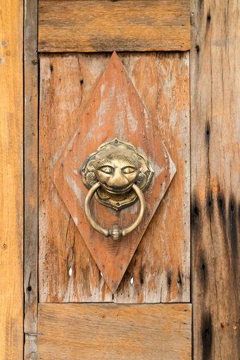 Metallic Door Knocker On Wood