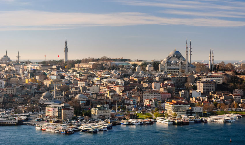 Skyline of Istanbul; Süleymaniye mosque in the right ASIA City Cityscape Coastline Golden Horn Istanbul Panoramic Skyline Travel Turkey View Aerial Aerial View Blue Bosphorus Buildings Mosquee Outdoors Sky Urban