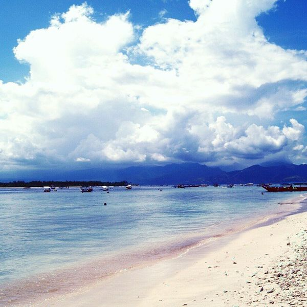 Beach Stunning Clouds Gilitrawangan  WonderfulLombok wonderfullIndonesia Indonesia traveling instapic Instagram instagood blue sky white sand