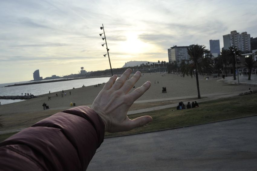 Barcelona Beach My Hand  Sea Sun Sunset