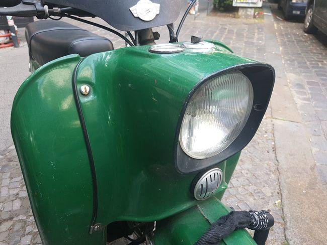 Vintage Scooter Scooter Transportation Headlight Lamp Llight Retro Vintage Berlin Street Close-up Green Color