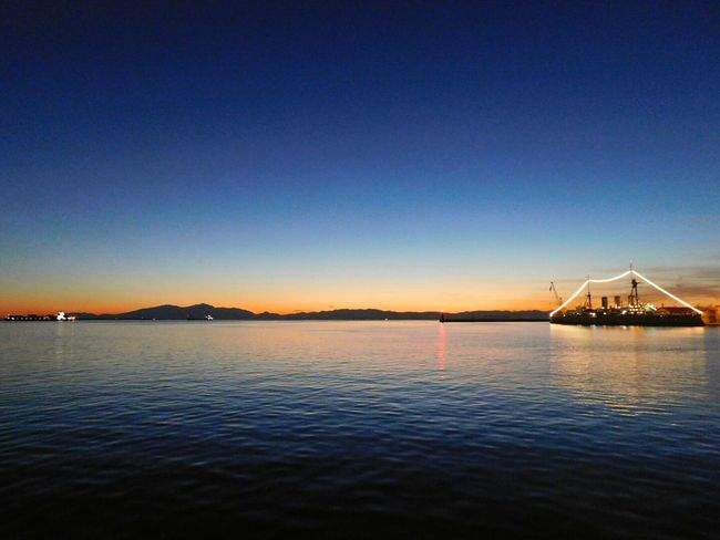 Clear Sky Sky Sunset Outdoors Sea Blue Water Beauty In Nature No People Thessaloniki Port  The Week On EyeEm The Great Outdoors - 2017 EyeEm Awards The City Light