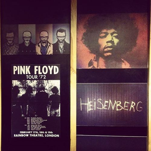 Wall graffiti at Thecartel Pune Graffiti Pinkfloyd heisenberg