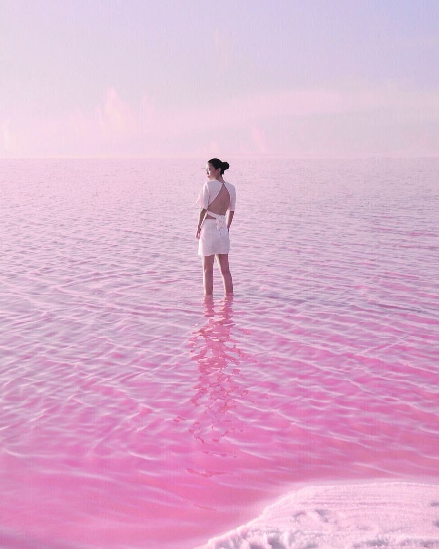 Pink lake Water Full Length Nature Rear View Beach Outdoors Tranquility Beauty In Nature Vacations Ankle Deep In Water Pink Color One Person Walking Scenics Sky Sunset Standing Sand Day Be. Ready.