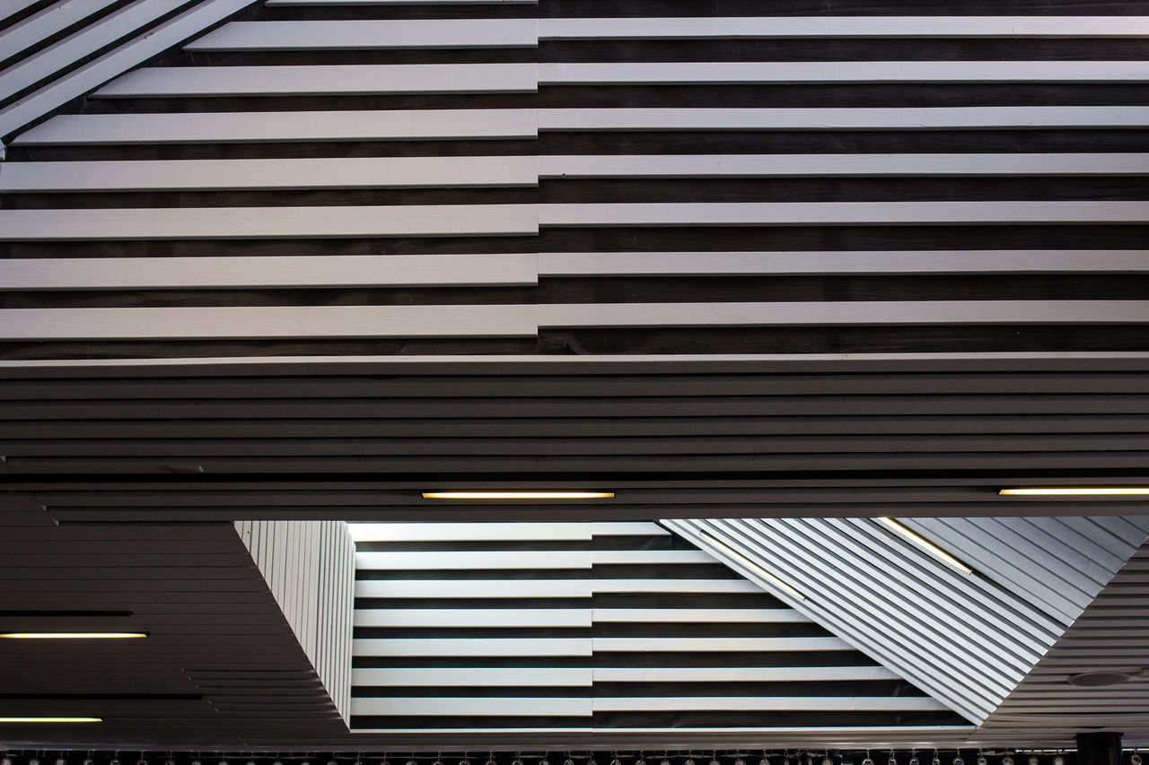 pattern, striped, shutter, ceiling, architecture, built structure, corrugated iron, no people, building exterior, indoors, day, illuminated, modern, close-up, parking garage