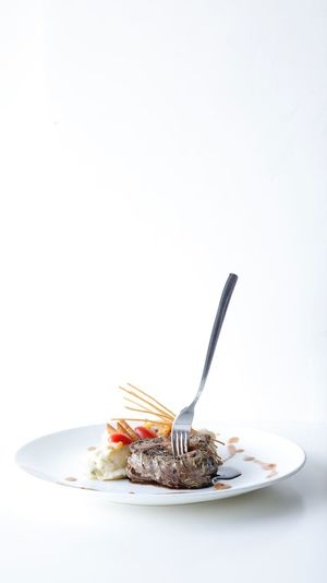 Fork me. Plate White Background Fork Studio Shot Food And Drink Food Copy Space Serving Size No People Freshness Ready-to-eat Sweet Food Close-up Day Food Stories