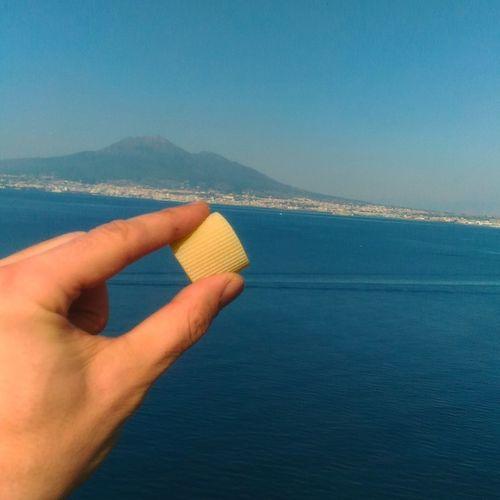 pasta italiana Vesuvio Naples Mare Qualitytime Food Pasta Italiana Pasta Time Trafilainbronzo Summertime Human Hand Water Sea Blue Beach Sky Close-up Horizon Over Water