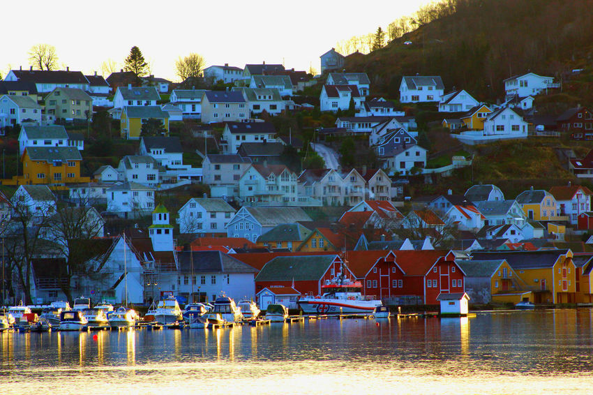 Norwegian coastal town Houses Marina Architecture Boats Building Exterior Built Structure City Day House Little Houses  Mountain Nature No People Outdoors Painted Houses Reflections Sky Town Water