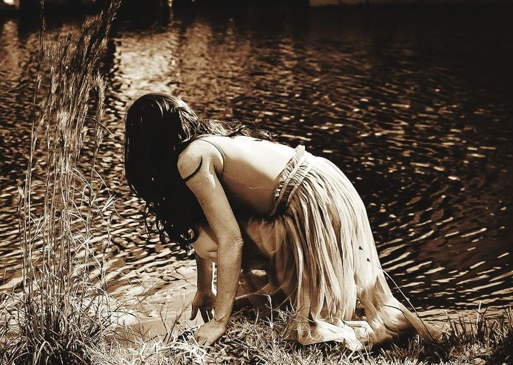 Reflecting on Life Tropical Climate Key West Florida Keys Canals And Waterways Reflections In The Water Looking Down Lonhair Vintage Style Women Female Dancer Tranquil Scene Water Beauty In Nature Water Calm Tranquility Remote Scenics Idyllic Tropical Tree Non-urban Scene