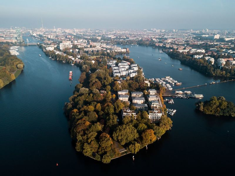 EyeEm Selects Aerial View Cityscape High Angle View City River Water Building Exterior Architecture No People Built Structure Outdoors Nautical Vessel Day Travel Destinations Tree Sky