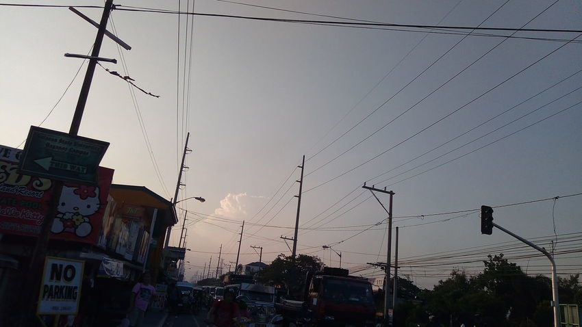 Traffic below wires City Building Exterior Sky Dusk Sunset Built Structure No People Architecture Outdoors Day