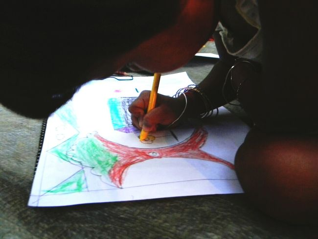 Girl Child Drawing Honest Cute Simple Colours Close Shot Pure Heart Emotion Thoughtful Sweetness
