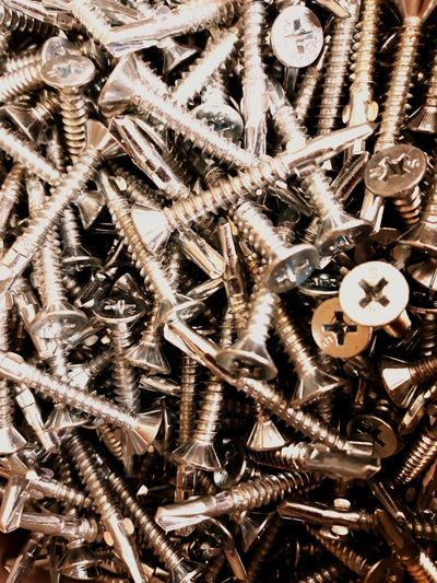 screws Screws Screwed Construction Construction Work Construction Industry Metals Backgrounds Full Frame Clock