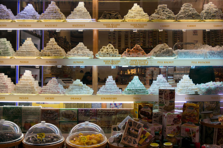 Arrangement Choice Close-up Dessert Display Food Food And Drink For Sale Freshness Indoors  Indulgence Loukoumades No People Price Tag Ready-to-eat Retail  Retail Display Shelf Store Sweet Food Temptation Text Turkish Delight Variation Neon Lights