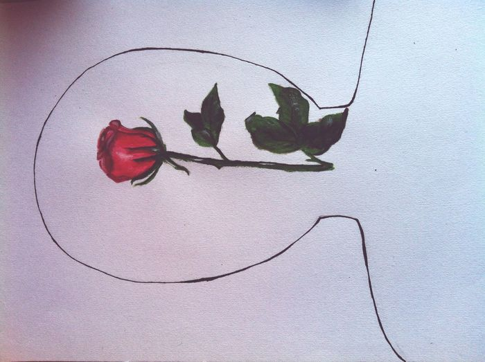 I just drawed what I think is in my head : it's a rose which isn't open yet . I hope you like it and please don't write bad comments because of my bad English or about my drawing . Thank you . Huck