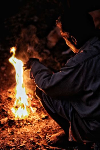 Flame Burning Heat - Temperature One Person Night One Man Only People