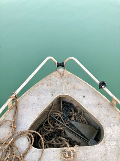 High angle view of fishing boat on sea
