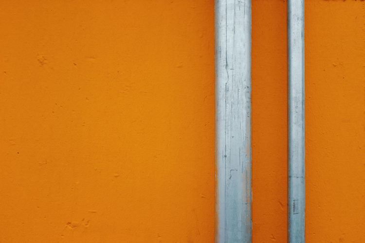 Orange Wall Architecture Built Structure No People Close-up Day Outdoors Building Exterior Minimalist Architecture Wall - Building Feature Orange Color Full Frame Backgrounds Pattern Copy Space Yellow Textured  Wall White Color Metal Wood - Material