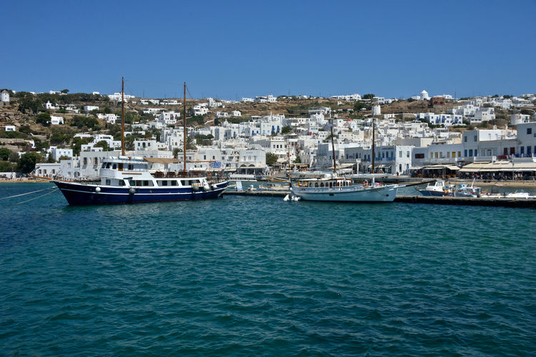 panoramic seaside view of Mykonos with white buildings and harbor with sailing ship moored Building Exterior Architecture Water Nautical Vessel Built Structure City Sea Mode Of Transportation Transportation Clear Sky Residential District Building Sky No People Nature Blue Day Waterfront Cityscape Outdoors Yacht Luxury Sailboat Passenger Craft Anchored Mykonos,Greece Seaside View Yachting Panorama Panoramic Cruise Cruising Vessel Maritime Cityscape