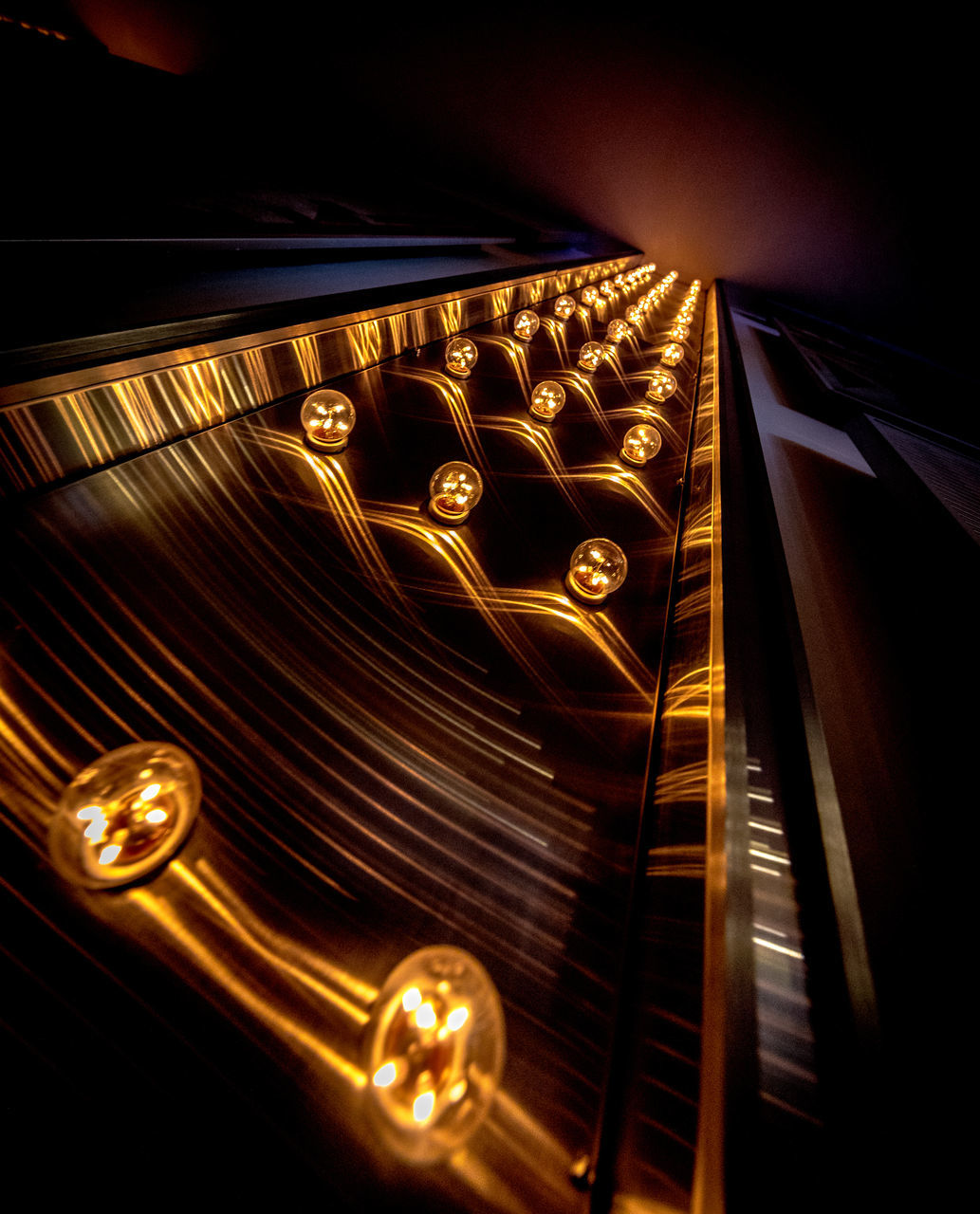 gold colored, music, technology, no people, illuminated, indoors, close-up, day