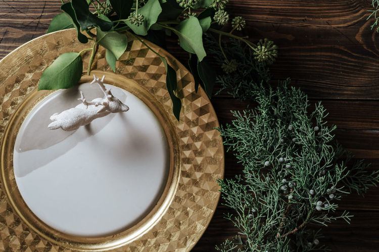 Close-up of deer figurine in plate by plants on table