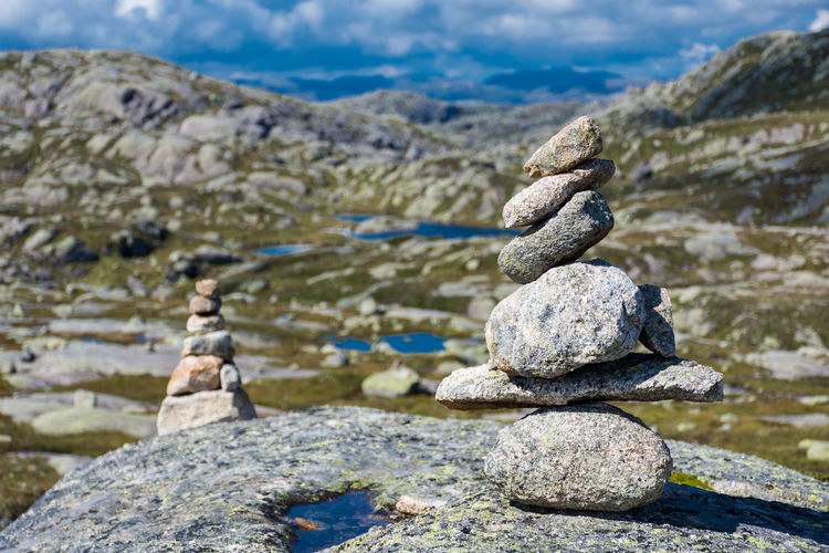 Stack of stones on shore