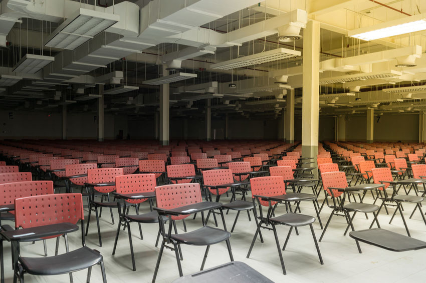Absence Architecture Auditorium Chair Day Education Empty Illuminated In A Row Indoors  Large Group Of Objects Lecture Hall No People Seat Seminar Stage - Performance Space Table