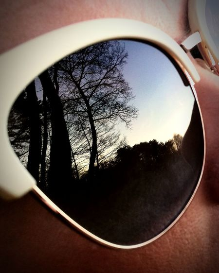 Sunglasses Reflection Close-up Outdoors Treetop Trees And Sky Nature Human Body Part Beyond The Trees, EyeEm Vison
