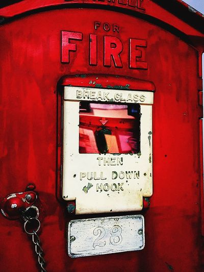 Incase of Fire Break Glass Fire Emergency Equipment Emergency Red Text Communication No People Close-up Day Outdoors