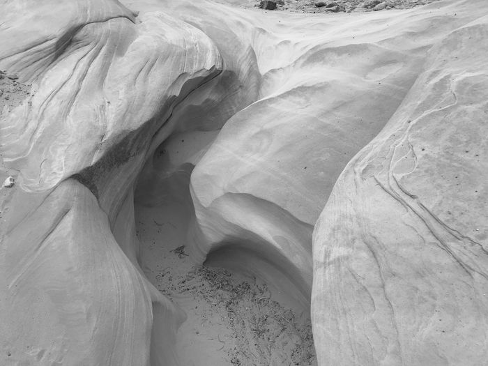 Black and white of rounded rock formations