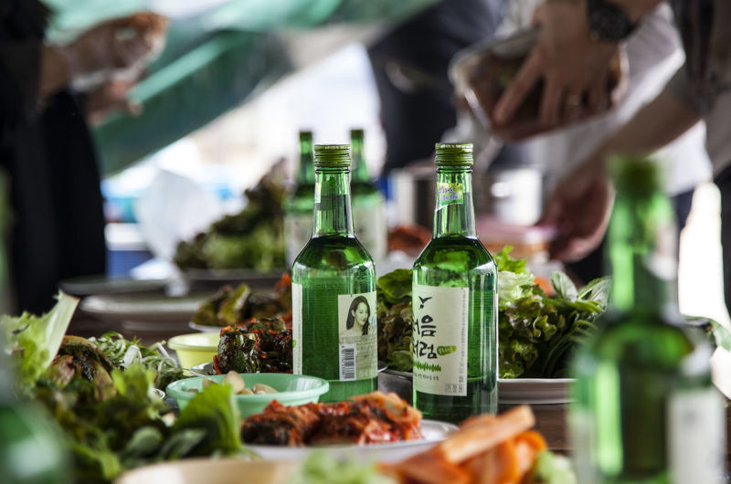 Abundance Alcholic  Carrot Choice Close-up Day Display Focus On Foreground Food Freshness Green Color Kimchi Lettuce Life Style Market Stall No People Preparing Party Retail  Selective Focus Sesame Leaf So Still Life Variation Whisky
