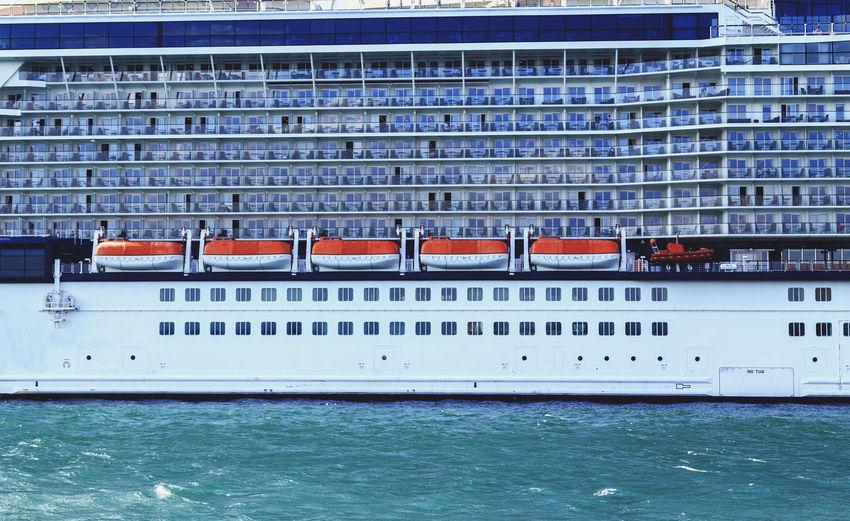 Cruise ship sailing in sea