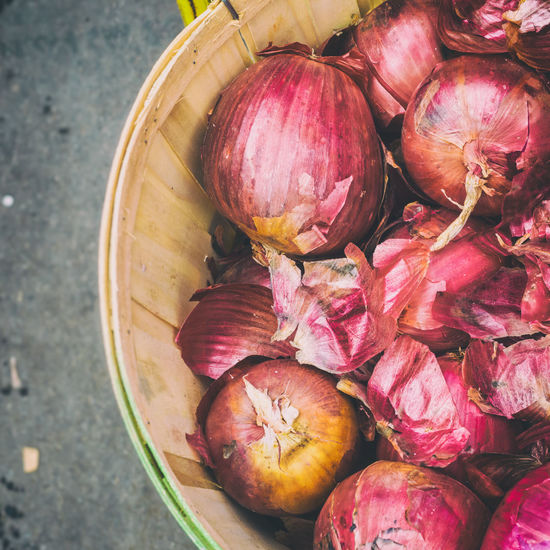 High Angle View Of Onion For Sale