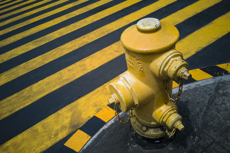 Yellow High Angle View Fire Hydrant Close-up Yellow Line Double Yellow Line Road Marking LINE Roadways
