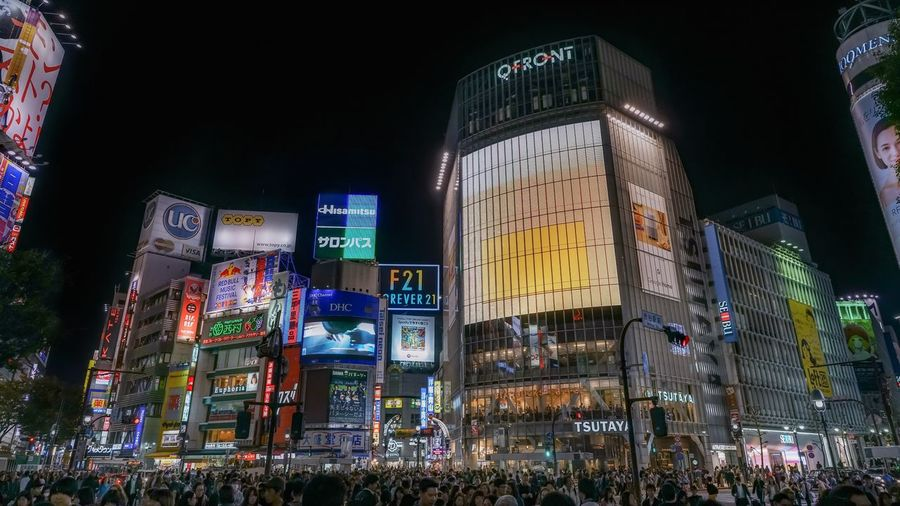 Japan Lights Shibuya Tokyo Advertisement Architecture Building Exterior Built Structure City City Life Crowd Crowded Group Of People Street Photography Streetphotography