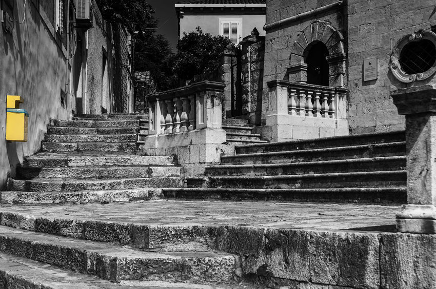 Letterbox Architectural Column Architecture Black And White Blackandwhite Photography Building Cavtat, Croatia City Day Diminishing Perspective Historic Letterbox Outdoors Plants Post Stairs The Way Forward Walkway Yellow
