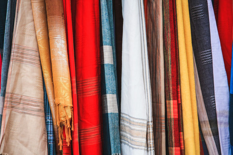Full frame shot of multi colored textiles in store