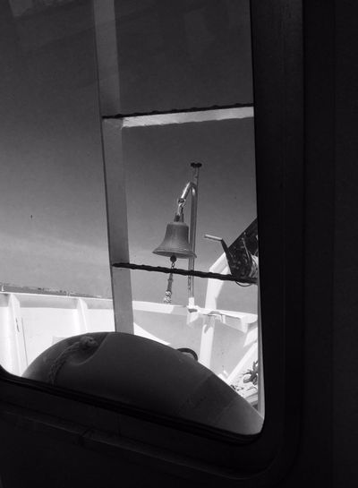 Bell Black & White Dark Day Ferry Boat Italy No People Rettungsreifen Venice