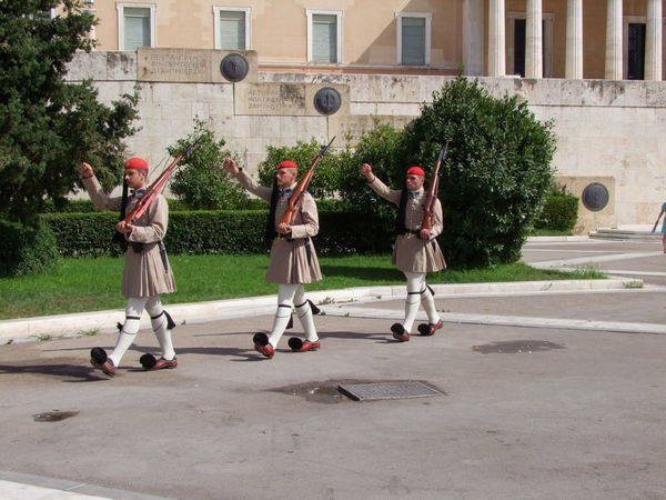 Changing of the Guard Athens Composition Culture Day Full Frame Green Guards Marching No Incidental People Outdoor Photography Outdoors Park - Man Made Space Rifle Soldiers Sunlight And Shadows Three Men Tourist Attraction  Traditional Trees Uniforms