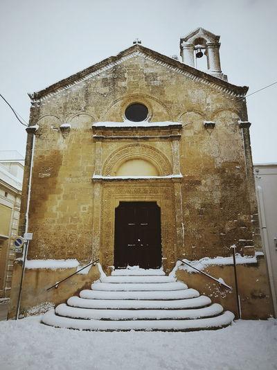 Snow Church Winter Basilicata Façade Sky Architecture Building Exterior Built Structure