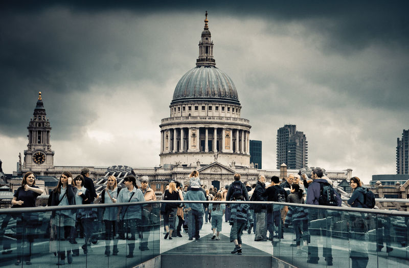 Group of people in front of st pauls cathedral
