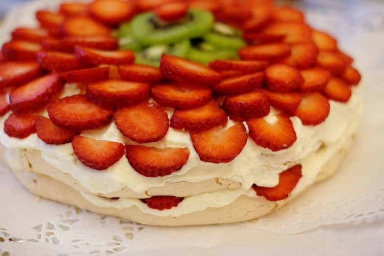 High angle view of strawberry cake on table