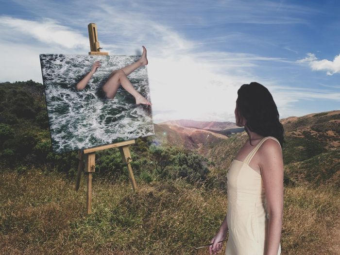 Get lost in a painting because that's the beauty of art. It allows yourself to escape to another world. A creative world. A world where anything is possible. *no bodies were harmed during the making of this image. Photography Photographer Conceptual Conceptual Photography  Surrealism Surrealist Art Surreal Photoshop Art Artist Landscape Nature Woman Portrait Photography Woman Portrait Portrait Portrait Of A Woman Visual Creativity Self Portrait Female Painting Painter Young Women Countryside