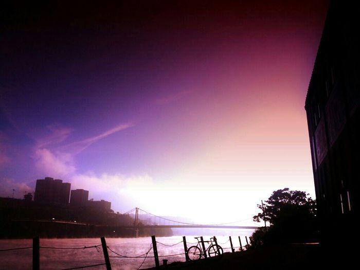 To shores beyond. Bridge Bike Fog Mist Foggy Morning Skyporn Fixie Mercier Aerospoke Riverporn Fogporn Kilo Tt