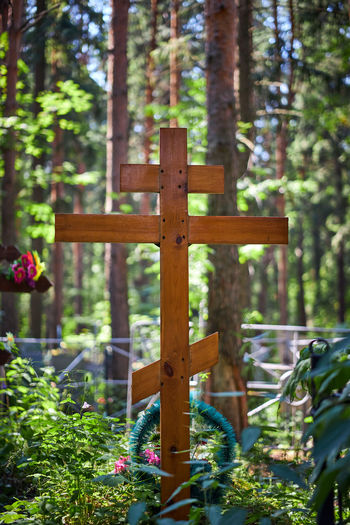 View of cross in temple