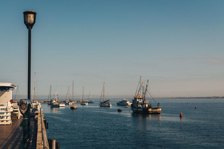 Monterey Marina Beauty In Nature Clear Sky Copy Space Day Harbor Mode Of Transportation Nature Nautical Vessel No People Outdoors Pole Sailboat Sea Sky Street Street Light Transportation Water Waterfront