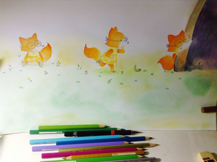fox Illustration Watercolor Drawing Art, Drawing, Creativity Drawin  Happy 水彩 Hello World Hi! Enjoying Life