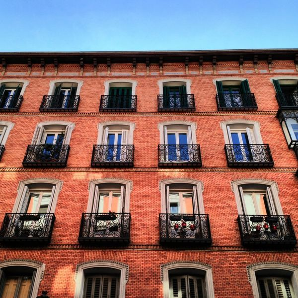 Madrid Spain Madrid Building Arhitecture Brick Wall Reflections Window Waling Around Check This Out City